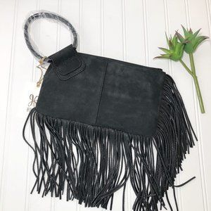HOBO Black Suede Sable Fringe Clutch New With Tags